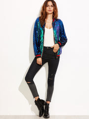 Green Multi Color Sequins Bomber Jacket for $1.48 at Posh Girl