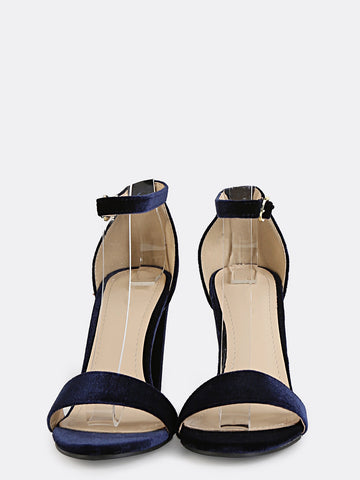 Blue Velvet Chunky Heels Sandals for $0.68 at Posh Girl