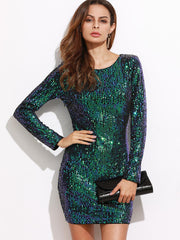 Blue Green Sequins Open back Mini Dress for $1.38 at Posh Girl