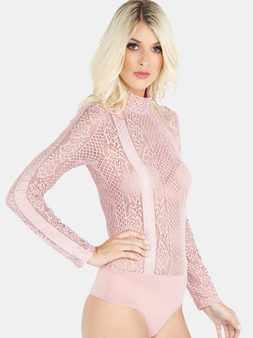 Light Pink Mock Neck Lace Bodysuit for $0.48 at Posh Girl