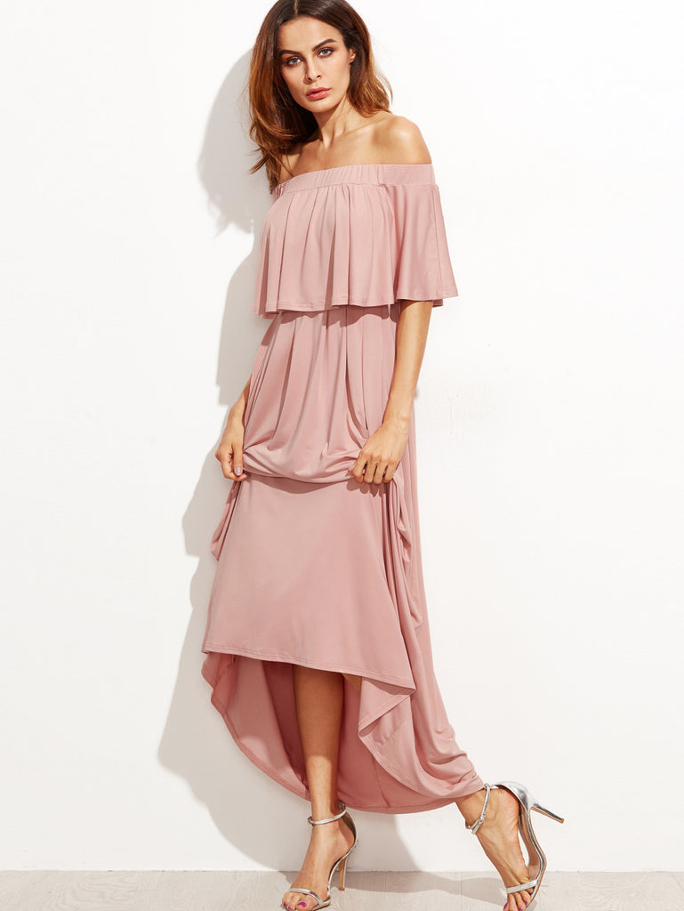 Pink Ruffled off Shoulder Maxi Dress for $0.88 at Posh Girl