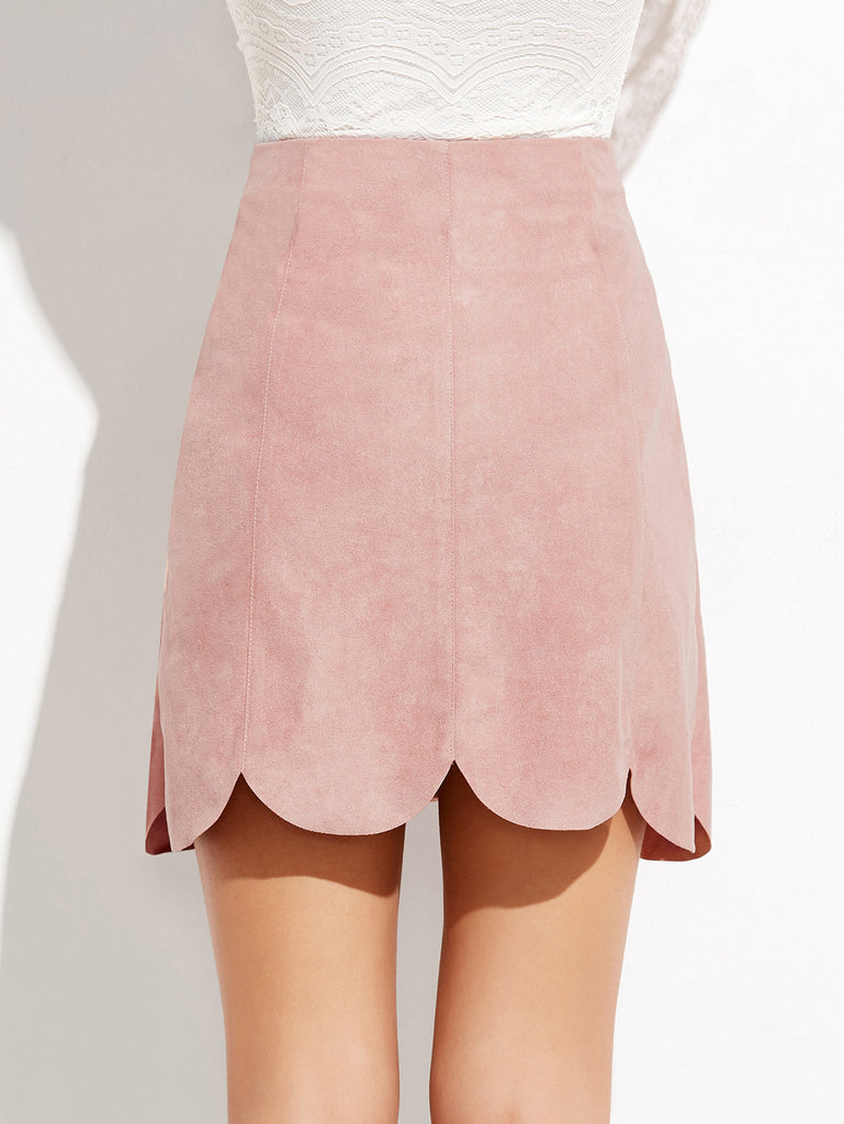Pink Vegan Suede Scalloped Mini Skirt for $0.58 at Posh Girl