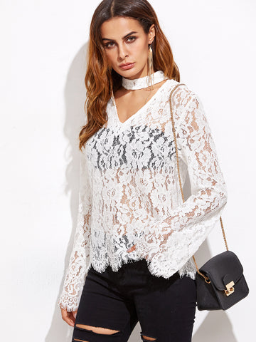 White Long Sleeve Lace Blouse for $0.78 at Posh Girl
