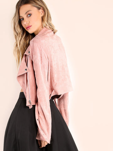 Pink Faux Suede Biker Jacket for $1.38 at Posh Girl