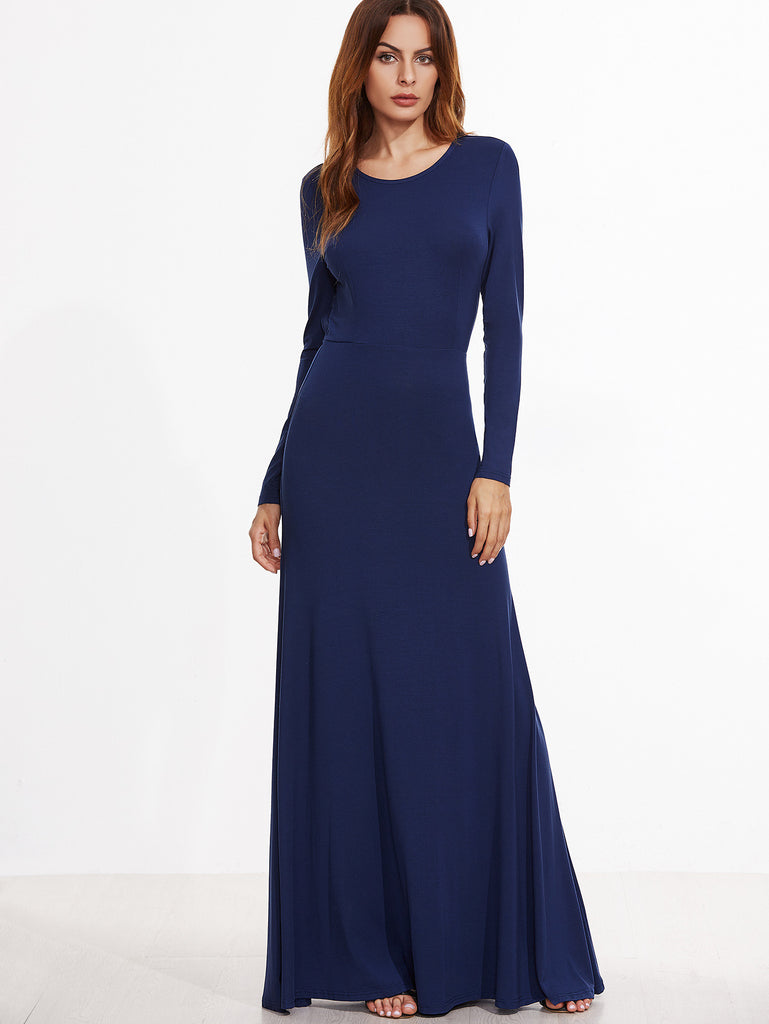 Ink Blue Open Back Knit Gown for $0.98 at Posh Girl