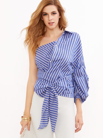 Blue And White Stripe Off Shoulder Blouse for $0.78 at Posh Girl