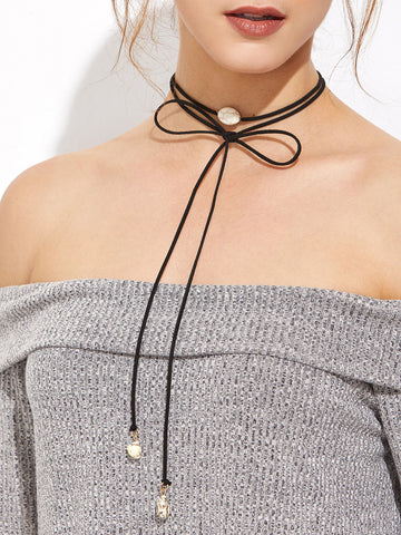 Black Gemstone Wrap Choker Necklace for $0.28 at Posh Girl