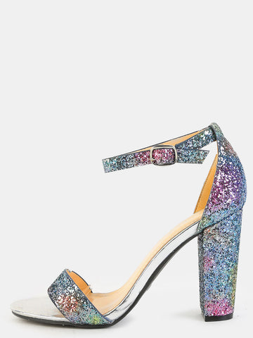 Ombre Glitter Chunky Heels Sandals for $0.78 at Posh Girl