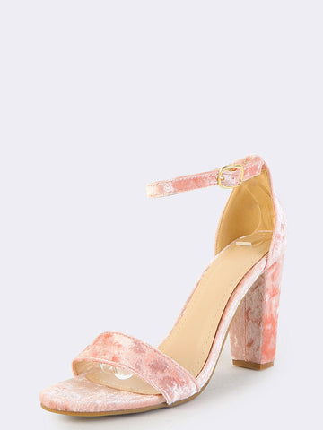 Blush Velvet Chunky Heels Sandals for $0.68 at Posh Girl
