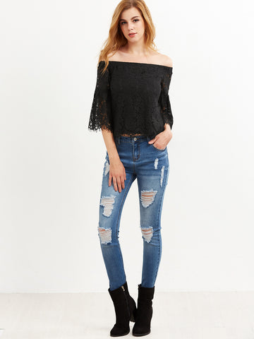 Black Lace Off Shoulder Bell sleeve Blouse for $0.48 at Posh Girl
