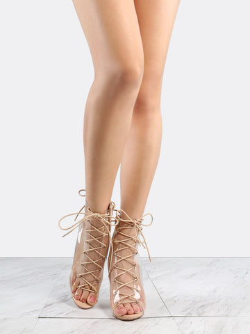 Nude Clear Heels Lace Up Boots for $0.98 at Posh Girl