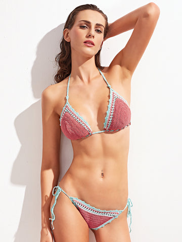 Pink Crocheted  Two-Piece Bikini Swimsuit for $0.78 at Posh Girl
