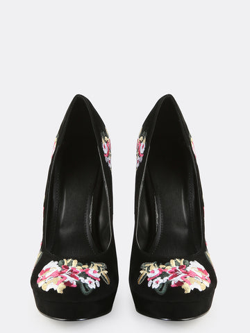 Flower Babe Platform Suede Pumps for $0.88 at Posh Girl