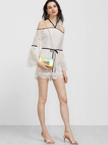 Carly Lace Halter Romper for $1.18 at Posh Girl