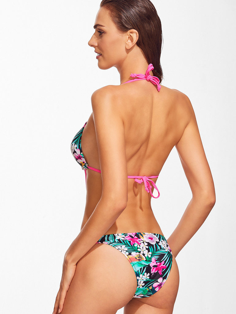 Floral String Halter One-Piece Swimsuit for $0.78 at Posh Girl