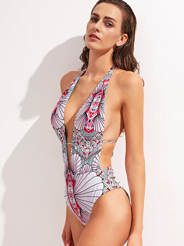 Beverly Floral One Piece Halter Swimsuit for $0.78 at Posh Girl