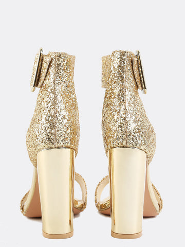 Gold Glitter Chunky Heels Sandals for $0.78 at Posh Girl