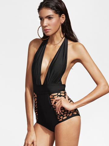 Sydney Black One Piece Halter Swimsuit for $0.78 at Posh Girl