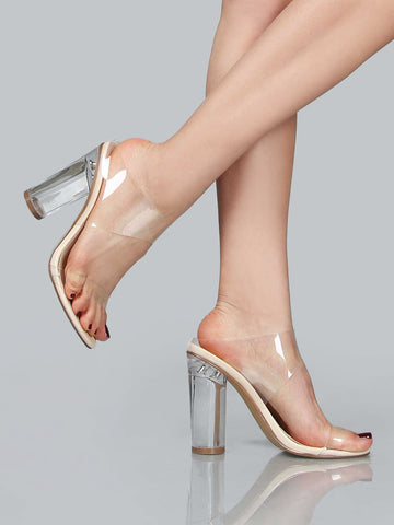 Clear Lucite Heel Sandals for $0.98 at Posh Girl