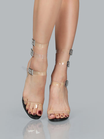 Clear Lucite Ankle Wrap Sandals for $0.98 at Posh Girl
