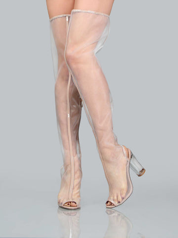 Nude Mesh Over The Knee Chunky Heels Boots for $1.58 at Posh Girl