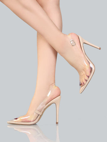 Clear Lucite Ankle Wrap Pumps for $0.98 at Posh Girl