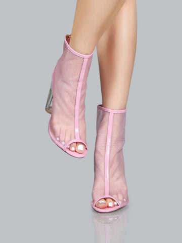 Pink Clear Heels Pep Toe Boots for $0.98 at Posh Girl