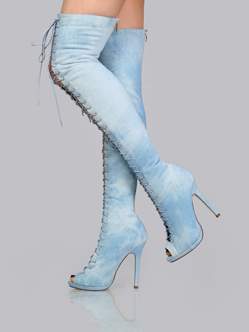Blue Denim Over The Knee Lace Up Stiletto Boots for $1.58 at Posh Girl