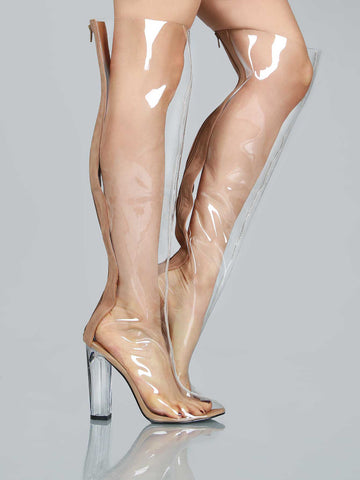 Nude Clear Over The Knee Chunky Heels Boots for $1.58 at Posh Girl