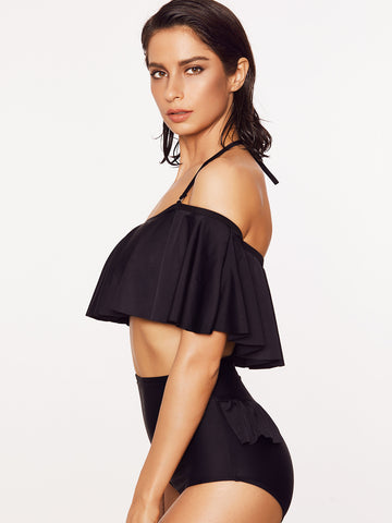 Black Ruffled Crop Top Two Piece Swimsuit for $0.78 at Posh Girl