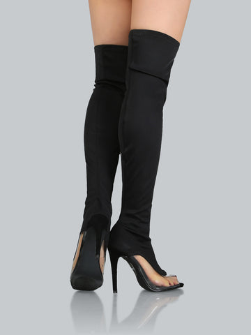 Peep Toe Clear Stiletto Thigh High Boots for $1.38 at Posh Girl