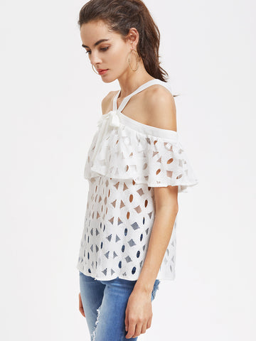 White Cutout Lace Off Shoulder Blouse for $0.48 at Posh Girl