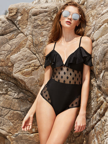 Black Cold Shoulder One-Piece Swimsuit for $0.68 at Posh Girl