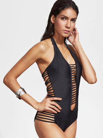 The Starlet Black Cutout Halter Swimsuit for $0.68 at Posh Girl