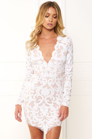 White Lace Asymmetrical Mini Dress for $1.48 at Posh Girl