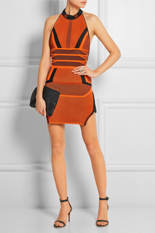 Tandy Orange Multi Bandage Dress-POSH GIRL-Posh Girl