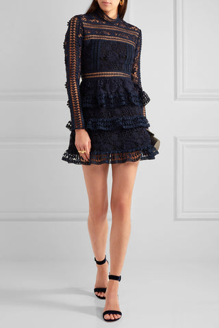 Felicia Navy Blue lace mini Dress for $1.88 at Posh Girl