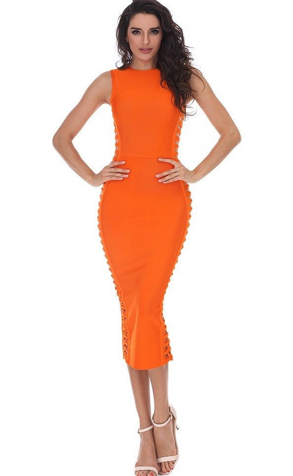 Sideways Bow Cut-Out  Bandage Dress