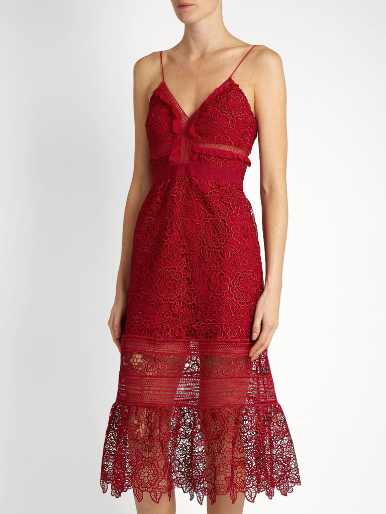 Red Embroidered Lace Midi Dress for $1.98 at Posh Girl