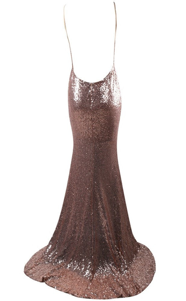 Gold Open Back Sequins Gown for $1.88 at Posh Girl