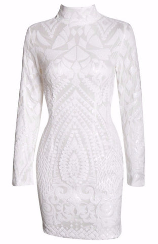 Pure White Sequins Mini Bodycon Dress for $1.88 at Posh Girl
