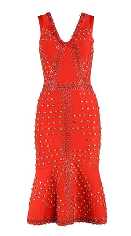 The Dazzler Red Studded Bandage Dress for $1.98 at Posh Girl