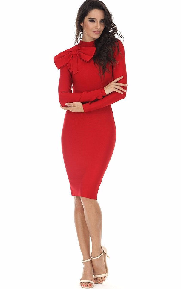 Red Dynasty Bow Bandage Dress for $1.68 at Posh Girl