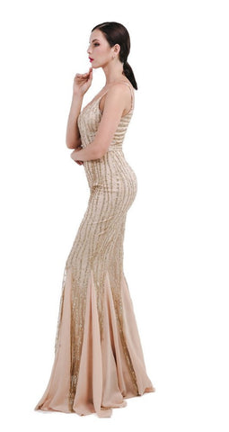 Gold Sequins Chiffon Gown for $1.88 at Posh Girl