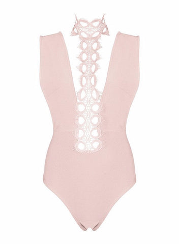 Lace And Bandage Halter Bodysuit for $0.88 at Posh Girl