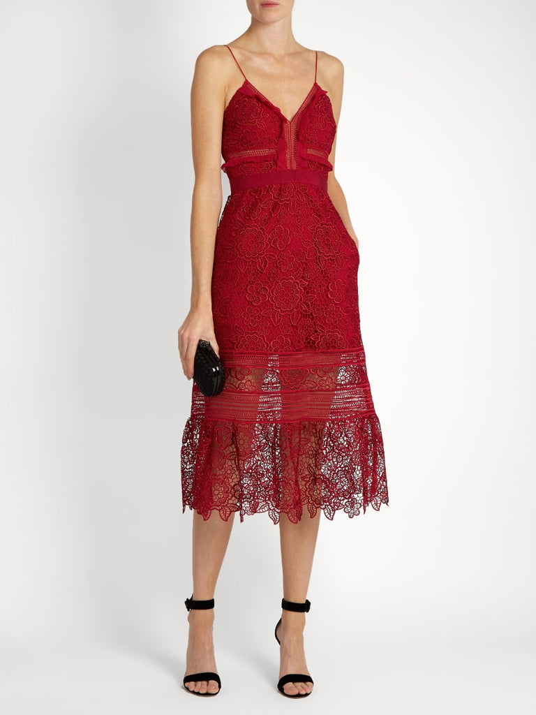 Red Embroidered Lace Midi Dress-POSH GIRL-Posh Girl