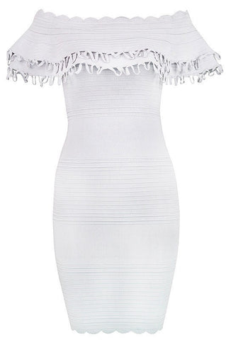 Annalisa white Bandage Off Shoulder Dress for $1.78 at Posh Girl