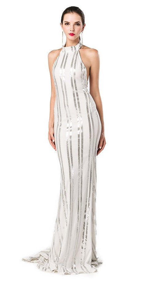 Silver And White Sequins Gown-POSH GIRL-Posh Girl