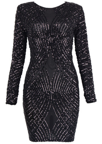 Lovely lady Long Sleeve Sequins Dress for $1.88 at Posh Girl