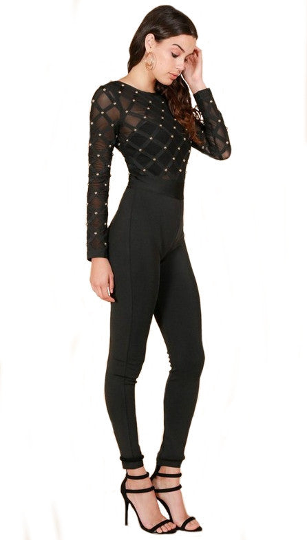 Janell Studded Bandage Jumpsuit for $1.88 at Posh Girl
